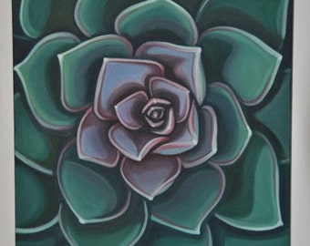 Succulent Echeveria Original Oil Painting by Carin Vaughn