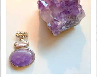 SALE Amethyst Dreams. Large Brazilian Amethyst Pendant with Biwa Pearl