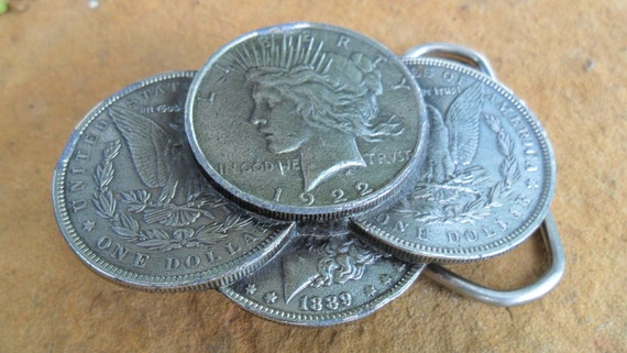 Vintage Silver Liberty Dollar Coins Belt Buckle
