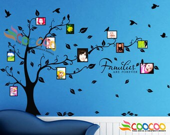 Photo Frame Tree Wall Decal Removable Vinyl Wall Decal Small Wall Decal Single Color Version