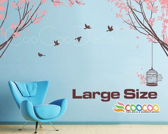 Tree Wall Decal Nursery Wall Decal Vinyl Wall Sticker Removable Tree and Birds, Spring Tree 2 LARGE SIZE