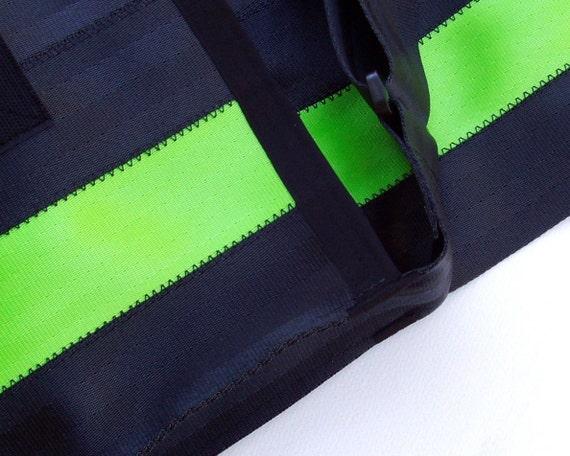 Seatbelt Messenger Bag in Black and Lime Green