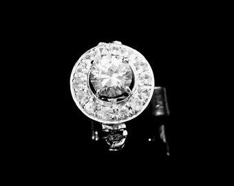 14k gold ring, pure natural white Ceylon Sapphire ring handmade Art Deco Engagement ring P-061-2