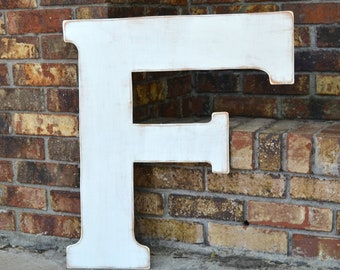 """24"""" Wooden Letter F, Classic Font in Distressed White - all letters available in many colors"""