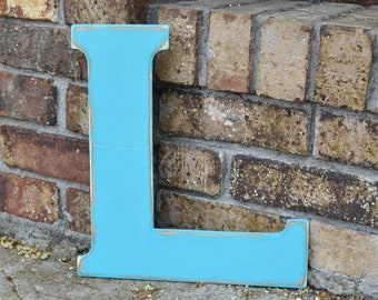 """12"""" Wooden Letter L, Classic Font in Distressed Turquoise Blue - all letters available in many colors"""
