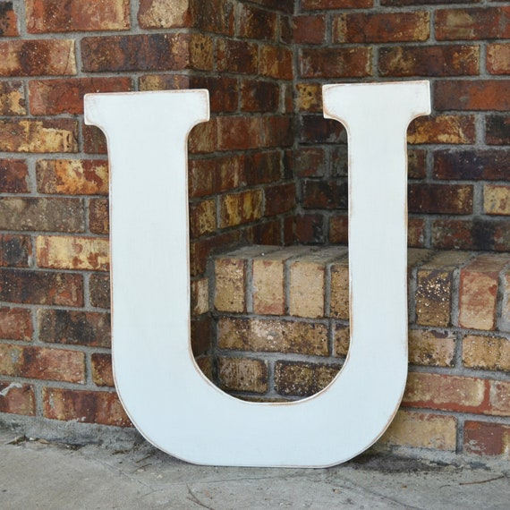 """24"""" Wooden Letter U, Classic Font in Distressed White - all letters available in many colors"""