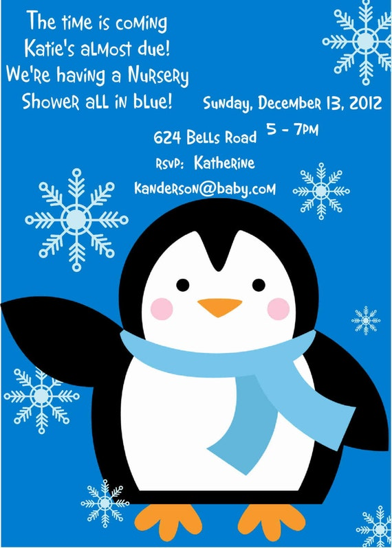 items similar to penguin baby shower invitation boy baby shower