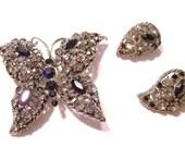 Black & Smokey Rhinestone Butterfly Vintage Brooch B2085