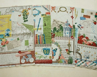 "Collage in Reminiscence - Cotton Linen Fabric - 1 Panel - 55"" x 31"" - S2F2"