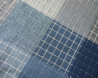 Blue Line Check -  Cotton Fabric - 1/2 Yard