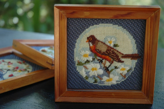 RESERVED LISTING Vintage Small Needlepoint Robin Cardinal or Bluebird Picture Your Choice