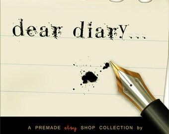 Modern Monochromatic Etsy shop set - - 6 piece stationary, pen & ink style: OOAK - Dear Diary