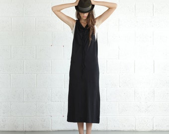 Drawstring maxi dress , Knit Maxi Dress,Black