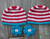 Dr Suess Cat in the Hat, Newborn Crochet Beanie with removable flower