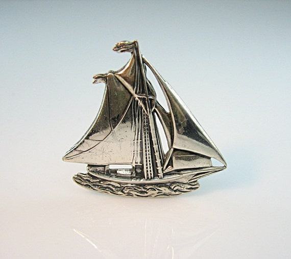 Danecraft Sterling Sailboat Pin Brooch Silver Boat 1940s Jewelry