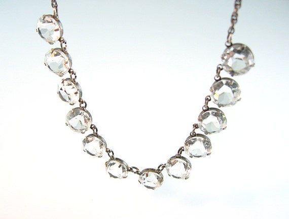 Art Deco Necklace Open Back Clear Crystals Sterling Fine Rope Chain 1940s Jewelry