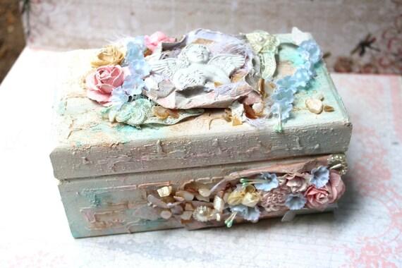 Shabby Chic Handmade Keepsake Box - Wood Box Jewelry Box
