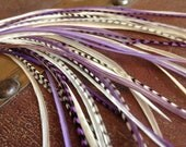 Real Feather Hair Extensions Kit Purple Cream Violet Feather Extensions Bonded Hair Feathers 8-11inch Long Extensions Feathers