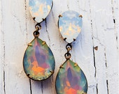 Rainbow White Opal Earrings Swarovski Crystal RARE Opal Post Dangle Earrings Duchess Hourglass Mashugana