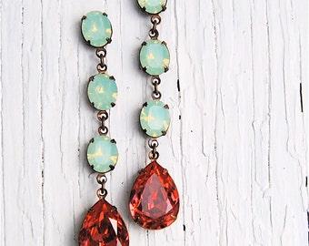 Mint Green Opal Watermelon Pink Swarovski Crystal Rhinestone Large Pear Earrings Drop Earrings Sandrine Mashugana