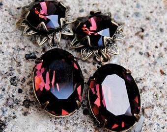 Bordeaux Burgundy Red Dangle Earrings Swarovski Crystal Red Earrings Post Dangle Oval Earrings Duchess Flower Mashugana