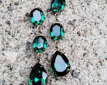 Emerald Green Earrings Swarovski Crystal Green Rhinestone Earrings Tear Drop Post Dangle or Clip on Earrings Fiesta Mashugana