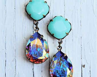 Aurora Borealis Opaque Mint Swarovski Crystal Pastel Rhinestone Earrings Post Dangle Earrings Gwenevere Mashugana