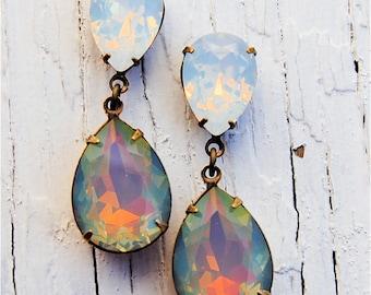 Rainbow White Opal Earrings Swarovski Crystal RARE Opal Post Dangle Earrings Duchess Hourglass Mashugana