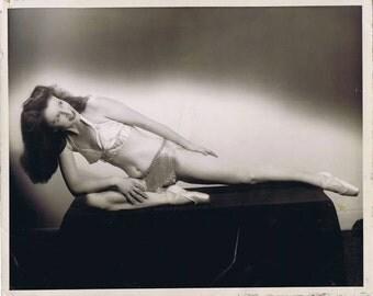 Vintage Risque Burlesque Castelberg, Baltimore, MD Publicity Photograph of Ballet Toe Dancer Strip Tease Dancer Forties