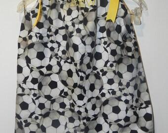 Soccer Balls Pillow Case Dress or Twirl Skirt