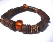 Men's Bracelet with Brown Carved Wood and Amber Silver Foil Glass - Earthiness, Nature, and Support