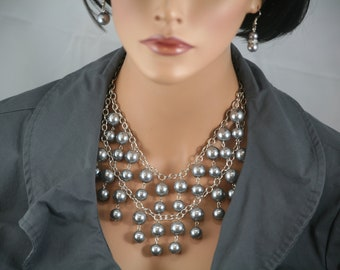 2 broke girls necklace in gray pearls and antique silver chain - statement necklace