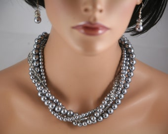 special 33 dollars!  Pewter gray multi strand necklace with gray crystals-bridesmaids necklace, wedding jewelry