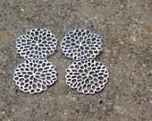 Honeycomb: Rhodium Plated Matte Mum Flower Earrings