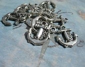 10 Tiny ANCHOR Charms - Silver finish D.I.Y. Nautical Pirate Jewelry Making