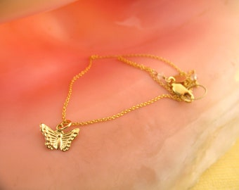Bitty Butterfly Charm necklace/ 14k gold filled/ little girls gifts/ flower girls necklace