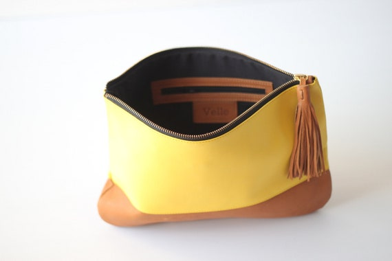 Colorblock Leather Tassle Clutch in Yellow and Tan- SALE