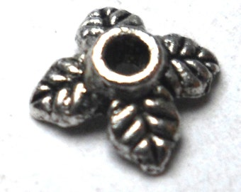 Silver Bead Caps 4 Leaves 25 pieces 6mm