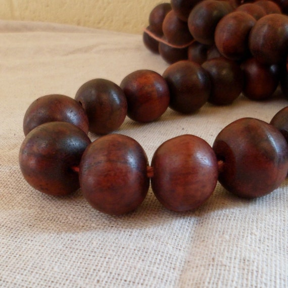 Wood Beads - Sono Wood Round Beads 12mm Wooden Beads Full Strand Red color