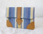 Striped Fold over Clutch bag with tan leather details iPad mini case