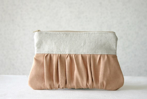 Linen pleated Clutch Purse bridesmaids Ruched clutch bridal clutch choose your color