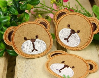 Iron on Fabric Patches - Bear Head - Set of 3 - FP32
