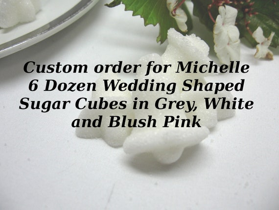 6 Dozen Wedding Bell, Heart and Rose Shaped Sugar Cubes Custom Order for Michelle