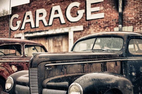Fine Art Print of an abandon Garage with rusty forgotten cars