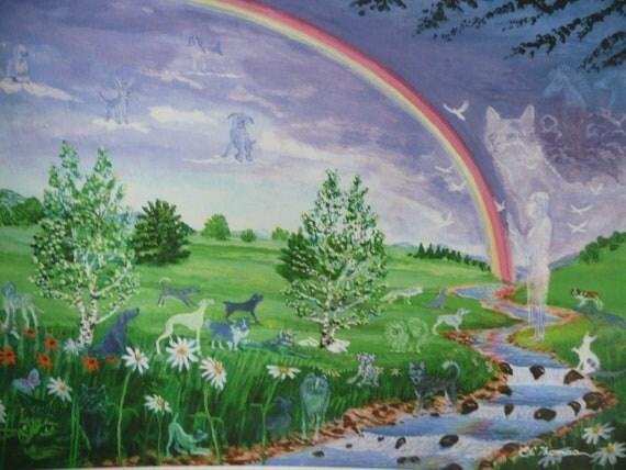 Pet dog cat animal rainbow bridge native american by elithomasart