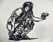 Baseball Catcher Metal Wall Art Sports Decor - sayitallonthewall