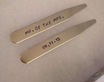 Wedding Date Collar Stays - Mr. of the Mrs. - Groom's Gift - Gift for Groom - Men's Anniversary Gift