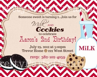 VINTAGE MILK and COOKIES invitation - You Print