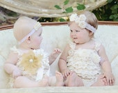 Ivory Petti Lace Romper-Flower Embellishments and Pearls- Baby Rompers - Cream