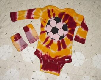 Tie dye bodysuit /socks, 3-9 month, long sleeved, soccer ball, 300
